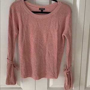 Open Tie Sleeve Sweater